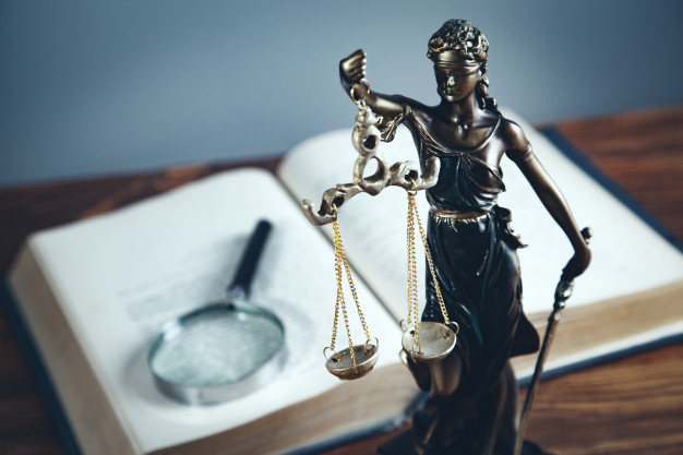 Lady justice with magnifier book 218381 997