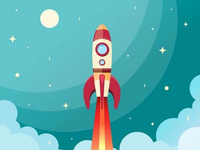 Rs foguete espacial voando no espaco com lua e estrelas no fundo imprimir ilustracao vetorial 1284 2184