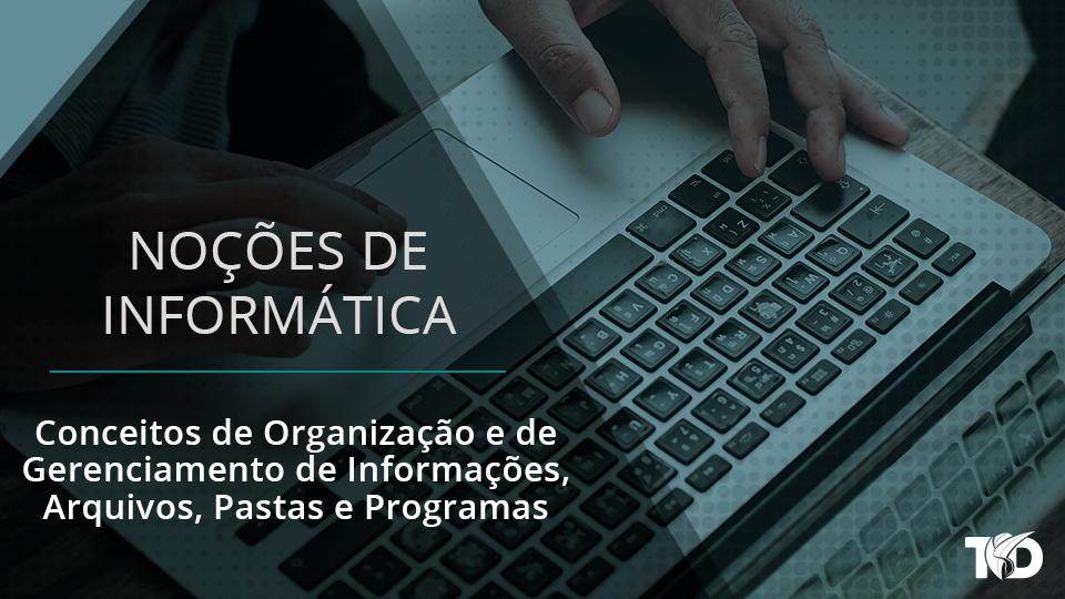 Card nocoesdeinformatica conceitos de organizacao e de gerenciamento de informacoes arquivos pastas e programas