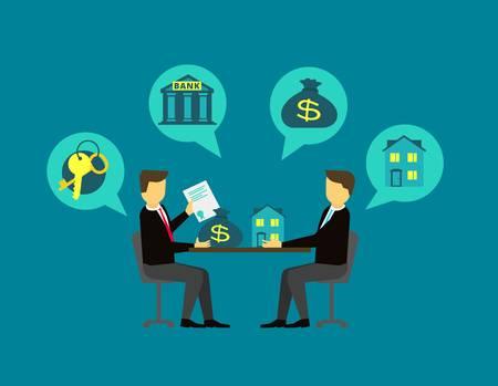 59123744 hacer frente a los bienes inmuebles el acuerdo comprador y el vendedor en la mesa de negociaci%c3%b3n ilustr