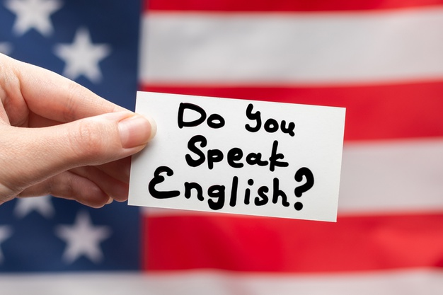Voce fala ingles texto em um cartao na bandeira americana 188078 3704