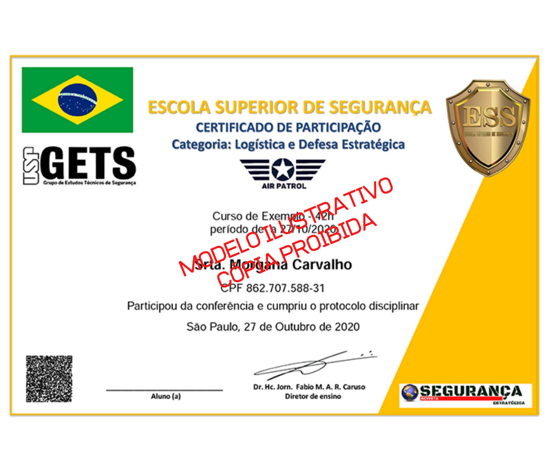 Figura ilustrativa do certificado página 1 - pode haver variações